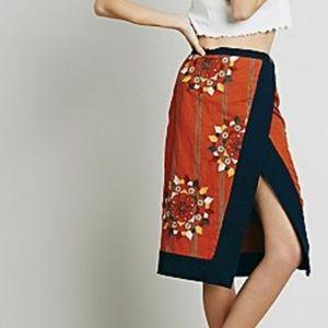 Free People Wrap Burnt Orange Bird Skirt